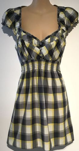 DOROTHY PERKINS CHECKED TIE BACK TUNIC TOP SIZE 14